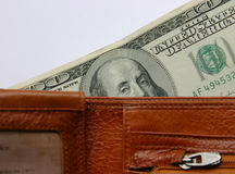 Sight from a wallet. Wallet and dollars Royalty Free Stock Photos