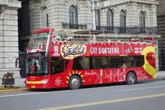 Sighten bussar i bunden Shanghai royaltyfria bilder