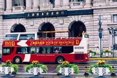 Sighten bussar i bunden Shanghai royaltyfri bild