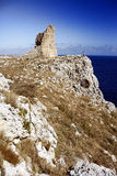 Sighting Tower. Old medieval tower used to sight the enemy, in particular the Turcks, coming from the sea. Puglia, Italy Stock Image