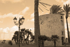 Sighting tower in sepia tone Royalty Free Stock Photos