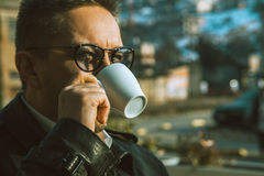 Sightly man drinking coffee Royalty Free Stock Photo