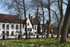 Postcards of Bruges beguinage 11 Stock Photo