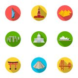 Sights of the countries of the world. Famous buildings and monuments of different countries and cities. Countries icon. In set collection on flat style vector stock illustration