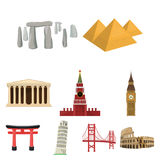 Sights of the countries of the world. Famous buildings and monuments of different countries and cities. Countries icon Royalty Free Stock Images