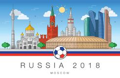 Sights of Moscow World Cup 2018 royalty free illustration