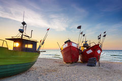 Sights of Poland. Sunset at Baltic sea. Royalty Free Stock Photos