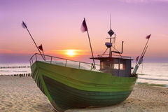 Sights of Poland. Sunset at Baltic sea Stock Photo