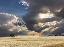 Sights of Poland. Wind farm in Poland Stock Photo