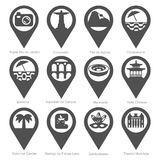 Sights Rio de Janeiro silhouette icon set. Popular area attractions Rio de Janeiro set of simple silhouettes, vector icons for city navigation pins Stock Photography