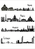 Sights of Rome, Paris, Madrid and Lisbon, b-w. Main sights of four european capitals - Rome, Paris, Madrid and Lisbon, drawn in black and white style stock illustration