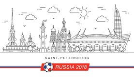 Sights of Saint-Petersburg World Cup 2018. Sights of the World Cup in football in 2018 in St. Petersburg. New football stadium Royalty Free Stock Photography