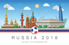 Sights of Saint-Petersburg World Cup 2018. Sights of St. Petersburg and the football stadium. Flag of Russia, soccer ball in  format Royalty Free Stock Photography