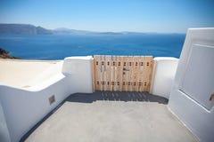 The sights of Santorini. Traditional wooden gates, Santorini island, Greece Stock Photo