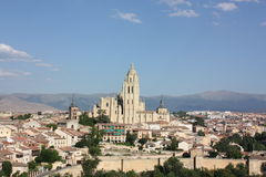 Sights of town and cathedral of Segovia Royalty Free Stock Photography