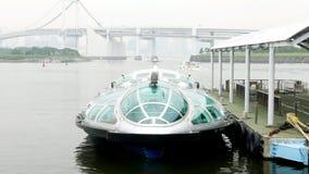 Sightseeing шлюпка в заливе odaiba Японии, мосте Стоковое Изображение