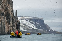 Sightseeing in Alkefjellet, Svalbard Stock Photos