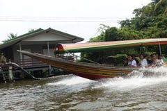 Sightseeing along canal. Boarding at Talingchan, Bangkok Royalty Free Stock Image