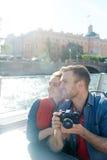Sightseeing. Amorous couple sightseeing on cruise tour Stock Photo