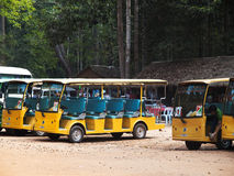 Sightseeing in Angkor Wat, Cambodia. Angkor Wat, Cambodia - March 19, 2011 : Cambodian open minibus drivers waiting for tourists for a ride across the temples of Stock Image