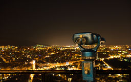 Sightseeing Athens. A night shot from Lykavitos at the center of Athens Royalty Free Stock Photos