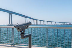 Sightseeing Binoculars on Cesar Chavez Park Viewing Pier Stock Image
