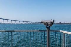 Sightseeing Binoculars Facing Coronado Bridge at Cesar Chavez Park Royalty Free Stock Image