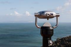 Sightseeing Binoculars on Mountain Overlooking Ocean Stock Photos
