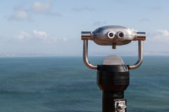 Sightseeing Binoculars Overlooking Ocean From Up High Stock Image