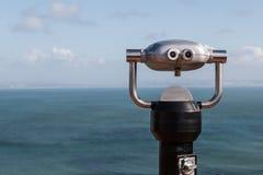 Sightseeing Binoculars Overlooking Ocean From Up High Stock Image