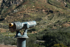 Sightseeing Binoculars Pointed Right Towards Mountain. Royalty Free Stock Image