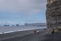 Sightseeing at the Black Beach, Iceland Stock Photography