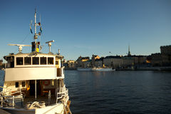 Sightseeing boat. Waiting for tourists in Stockholm harbor Royalty Free Stock Photography