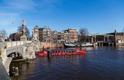 Sightseeing Boat in the Amsterdam Canals Royalty Free Stock Image