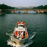 Sightseeing boat on  river Seine in Paris Royalty Free Stock Photos