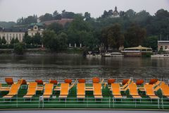 sightseeing boat with seats on the river stock photo