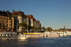 Sightseeing boat Stockholm. Sightseeing boat waiting for tourists in Stockholm harbor Stock Image