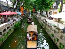 Sightseeing Boats in ancient town. Few Sightseeing Boats boating on the lake in Tong Li ancient town view in wujiang district suzhou city jiangsu province China Royalty Free Stock Photography
