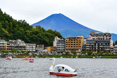 Sightseeing boats in the lake of Kawaguchi Stock Photo