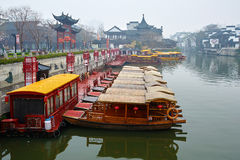 Sightseeing Boats. The photo was taken in Confucius Temple scenic spot Nanjing city Jiangsu province,China Royalty Free Stock Image