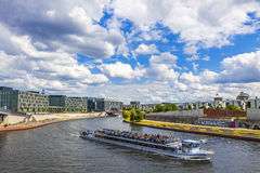 Sightseeing boats on the river Spree in Berlin, Germany Royalty Free Stock Image