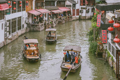 Sightseeing Boats in Zhujiajiao Ancient Town, China Stock Image
