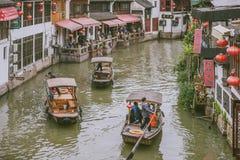 Sightseeing Boats in Zhujiajiao Ancient Town, China. SHANGHAI, CHINA - MAY 07, 2016:  Sightseeing Boats in Zhujiajiao Ancient Town called Shanghai Venice Stock Image