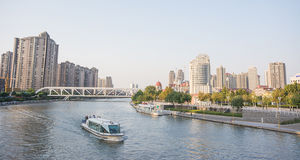 Sightseeing of  building around Haihe river in Tianjin city,Chin Royalty Free Stock Photos