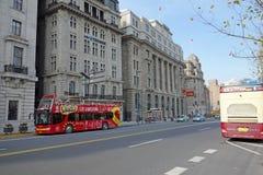 Sightseeing bus in the bund Shanghai Royalty Free Stock Photos