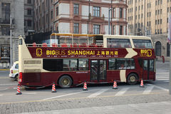 Sightseeing bus in the bund Shanghai Stock Image