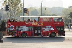 Sightseeing bus in the bund Shanghai. The big bus sightseeing tour in Shanghai,China Royalty Free Stock Photo