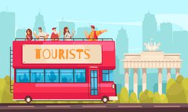 Sightseeing Bus Excursion Composition. Guide excursion tourist composition with sightseeing bus and people in outdoor city scenery with cityscape background stock illustration