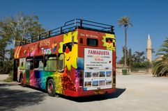 Sightseeing bus Famagusta -  Larnaka.. Cyprus Royalty Free Stock Photos