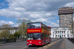 Sightseeing Bus in Frankfurt, Germany. Hop on hop bus in the city of Frankfort on Main on April 2015 in Frankfurt, Germany Stock Photo